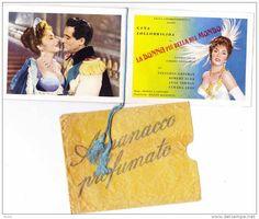 "Calendario profumato parfumé fragrant Cinéma Film \""La Donna la Piu bella del Mondo\"" Lollobrigida Gassman 1957"