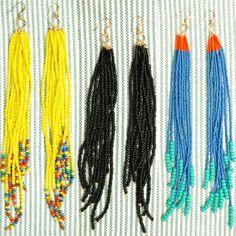 showstopper beaded earrings. long, dangly beaded earrings handmade by lisa at amperstans.