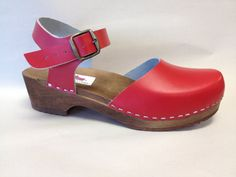 Red on Brown Dalanna Low Heel with buckle ankle by ChameleonClogs
