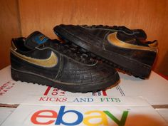 21a232b6227eaa Vintage 1986 Nike Soccer Shoes Rare OG 6.5 860103JD Black Gold Royal  Leather  Nike