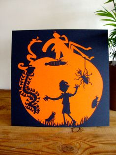 Paper Cutting Hand Cut 'James and the Giant by LisaJayStudio