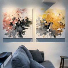 Garden Series installed each 36x36. #livingwithart #contemporaryart #modernart #contemporarylandscape #landscapepainting #abstractart #abstract #garden #flowers #interiordesign #interiors #painting #abstractpainting #art #artist #carlosramirez