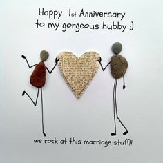 Celebrate every relationship chapter, whether it's their personal 1 or their own sixtieth along with a clever existing that you can find in assortment of unique wedding centenary gifts. 1st Anniversary Cards, Work Anniversary, Stone Pictures Pebble Art, Stone Art, Stone Crafts, Rock Crafts, Pebble Art Family, Craft Fairs, Painted Rocks
