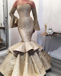 gold sparkly evening dresses luxury mermaid tiered elegant off the shoulder evening gown robe de soiree