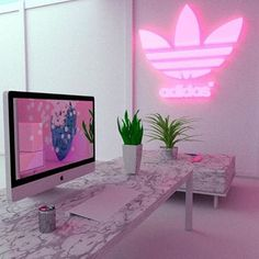 Find images and videos about pink and adidas on We Heart It - the app to get lost in what you love. Neon Bedroom, Girls Bedroom, Bedroom Decor, Bedrooms, Neon Aesthetic, Aesthetic Bedroom, Dream Rooms, Dream Bedroom, My New Room