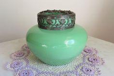 Antique Art Glass Vase Bohemian Frog Kralik Czech Green Jade Bristol Metal Lid | eBay