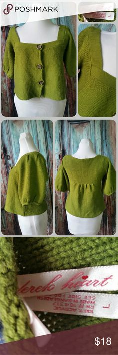 DEREK HEART sweater Cropped a line cardigan with squared neckline. Bold pea green color Sweaters Cardigans