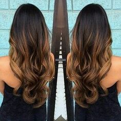 Balayage and ombre with caramel colors. I think this goes for all of us ladies, we love when our hair looks beautiful These chocolate and caramel balayage colors are perfect for . Long Ombre Hair, Ombre Hair Color, Brown Hair Colors, Black Hair Ombre, Hair Colour, Fall Hair, Gorgeous Hair, Beautiful, Hair Looks