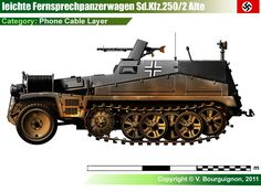 Sd.Kfz.250/2 (Gerält 892) (Alte / Old)                         Leichter Fernsprechpanzerwagen: This was the telephone cable version, equipped with a cable-layer which, along with the pole masts, occupied most of the rear open space.