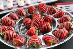 Chocolate dipped strawberries at a Ladybug Party #ladybug #partytreats