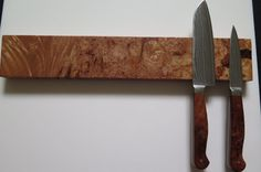 14 Maple Burl Magnetic knife rack knife holder Big by EEKnives