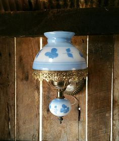 Vintage Electric Sconce, Blue Sconce, Wall Fixture, Filigree, Glass Shade, Lamp, Painted Milk Glass