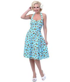 1950's Style Heartbreaker Fresh Blue Cherry Sweetie Dress - Unique Vintage - Prom dresses, retro dresses, retro swimsuits.