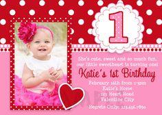 Valentines Birthday Invitation 1st Birthday by TheTrendyButterfly