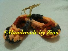 #crochet newborn baby shoes in mustard and grey. £8.00 (exc. p&p)