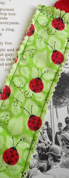 Ladybug Fabric Bookmark by PuddleDuckCottage on Etsy, $2.50