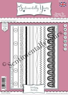 Trudie Howard Sentimentally Yours A5 Stamp Set - Stitching Borders Stamp, Stitch, Full Stop, Stamps, Stitching, Sew, Stitches, Costura, Embroidery