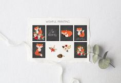 PRINTABLE Planner Stickers Floral Fox Stickers by WishfulPrinting