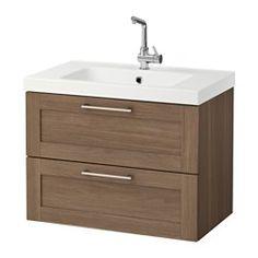 GODMORGON / ODENSVIK Sink cabinet with 2 drawers, walnut effect walnut - walnut effect - IKEA