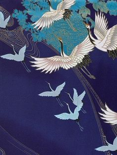 Detail of a silk kimono dating to second half 20th century