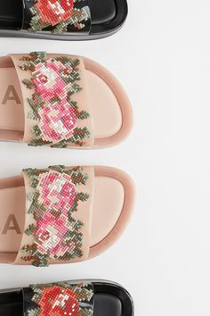 Vegan Beach Slide Sandal from Free People! Slide Sandals, Floral Design, Free People, Glamour, Vegan, Beads, Pink, Roses, Free Shipping