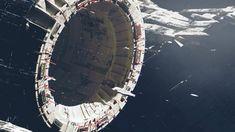 Science-Fiction Raumstation Wallpaper