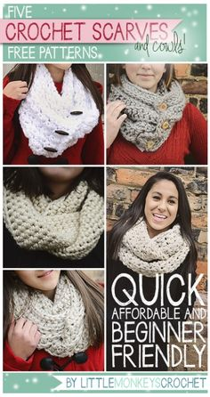 Click Here for 5 Quick, Affordable, Beginner Friendly Scarves and Cowls     Free Crochet Patterns by Little Monkeys Crochet