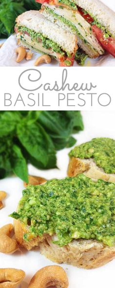Easy Cashew Basil Pesto. Creamy pesto. Easy to make from my bumper basil crop. Tastes fabulous slathered on crusty bread or tossed with pasta.