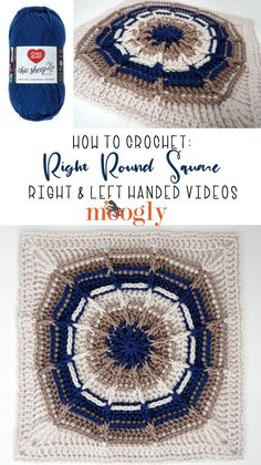 The Right Round Square Tutorial demonstrates how to crochet this quick and easy crochet block pattern - in right and left-handed video tutorials! Crochet Square Blanket, Crochet Squares Afghan, Crochet Blocks, Granny Squares, Crochet Motif Patterns, Crochet Chart, Crochet Abbreviations, All Free Crochet, Red Heart Yarn