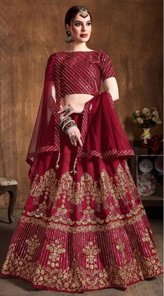 This Red Art Silk Lehenga Choli has embroidery patch work. Zari, Sequins Embroidery And Diamond Work can be customized up to size 42 only. Soft net dupatta comes with lehenga choli. Pink Lehenga, Lehenga Choli Online, Bridal Lehenga Choli, Lehenga Blouse, Indian Dresses, Indian Outfits, Lehenga Online Shopping, Party Wear Lehenga, Lehenga Designs
