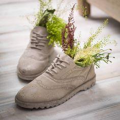 Concrete Brogue Shoes Plant Pots