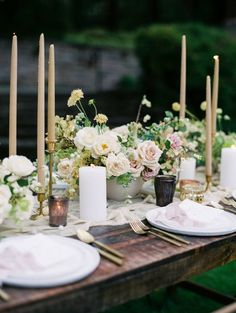A beautifully romantic wedding shoot by Jeremy Chou on the grounds of the stunning Lewis & Clark campus. Styled by Tristan Needham, it features an Alexandra Grecco gown. Wedding Table Settings, Wedding Reception Decorations, Wedding Centerpieces, Wedding Receptions, Antique Wedding Decorations, Tent Reception, Wedding Tables, Place Settings, Wedding Ceremony