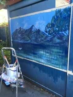 Sarah J. Loecker : Da Vinzi Project- landscape mural on a shipping container Homeless People, Homeless Man, City Hospital, Living In Europe, Brown Paint, Time Painting, Outdoor Paint, Painted Clothes, Italy Travel