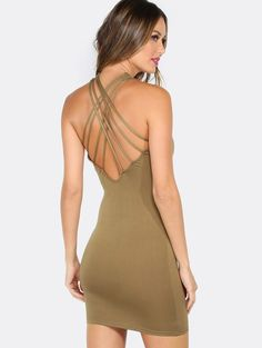 Online shopping for Round Neck Strappy Mini Dress OLIVE from a great selection of women's fashion clothing & more at MakeMeChic.COM.
