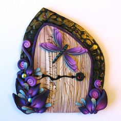 Purple  Dream Dragonfly Fairy Door Pixie Portal by Claybykim