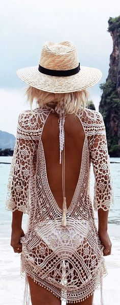 Women's Floral Lace Crochet Cover up Tunic Beachwear Tops Shirts - Boho style