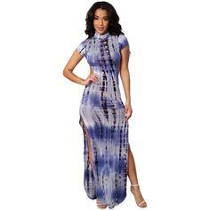 Open Back Blue Tie Dye Print Maxi Dress LAVELIQ