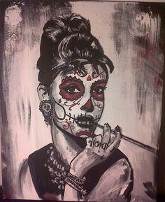 Sugar Skull Audrey Hepburn by AdamBayes.deviantart.com on @deviantART