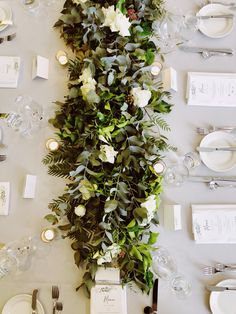 Wedding long table decor - greenery foliage runner featuring lush green foliages and greenery with white flowers combined with candles Long Table Centerpieces, Greenery Centerpiece, Floral Centerpieces, Wedding Centerpieces, Bridal Shower Tables, Bridal Shower Decorations, Wedding Decorations, Table Decorations, White Roses