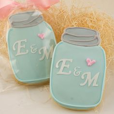 Mason Jar Sugar Cookies Monogrammed Vintage  1 Dozen by TSCookies, $33.00