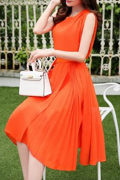 Ruched Sleeveless Chiffon Dress