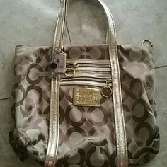 Brown and gold authentic coach tote Brown, tan and gold straps coach monogram tote bag Coach Bags Totes