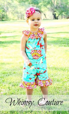 4a74d44e3e61 Ruffled Neckline Romper Whimsy Couture Sewing Pattern Tutorial PDF Babies  through 10 girls