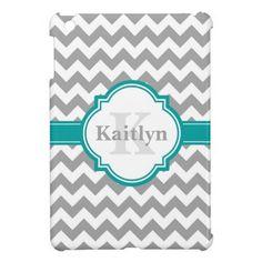 Teal Grey Chevron Pattern & Moroccan Quatrefoil Cover For The iPad Mini
