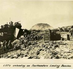 Unloading on the southwestern loading beaches on Iwo Jima.