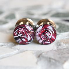 00 Gauge Plugs 10mm Red Plugs Red Gauges Clay by FashionPlugs, $29.00