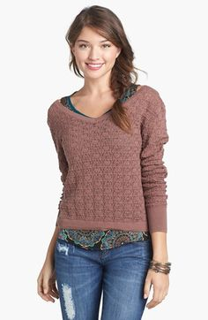 "Frenchi® Pointelle Knit Pullover (Juniors) | Nordstrom Item #690440 A swooping V-back amps up a sweet pointelle-knit sweater updated with a split back hem. 22"" length (size Medium). 100% cotton. Machine wash cold, lay flat to dry. By Frenchi; imported. BP. SGD$59.34"