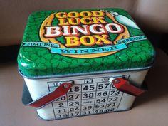 Vintage Good Luck Bingo tin basket Fortune by BumpedandBruised