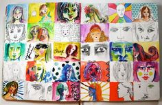 """Julie Fei-Fan Balzer....  """"I conducted an art journaling experiment for June.  I drew a grid of thirty boxes and every day this month I art journaled by drawing a face in one of the boxes"""""""