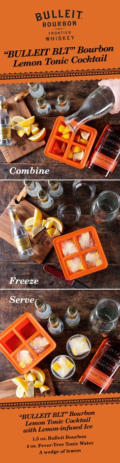 """Stay cool this summer and try a """"BLT"""" Bourbon Lemon Tonic cocktail with lemon-infused ice cubes. With Bulleit whiskey, lemon, and tonic—this simple mixed-drink is perfect for your Labor Day Weekend celebration. To make the lemon-infused ice, simply place lemon wedges into an ice cube tray and freeze. Recipe: 1.3 oz. Bulleit Bourbon 4 oz. Fever-Tree tonic water A wedge of lemon Lemon Ice: Place lemon wedges into ice cube tray and freeze. Ice Cube Tray: W&P Design"""